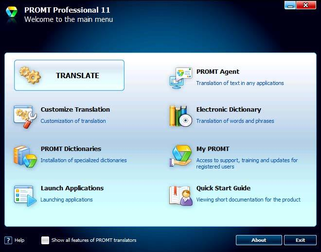 PROMT Professional 11 (French Multilingual) screenshot 1